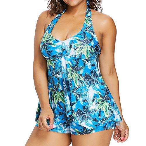 Storerine - Costume da bagno a 2 pezzi, da donna, a vita alta, con stampa, confortevole, 2 pezzi, con motivo a strisce e balze, blu, XL