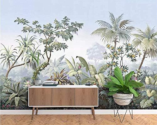 SILK ROAD EU Papier Peint Panoramique jungle Soie, 410 x 280 cm Tropical Rainforest Coconut Tree Poster Geant Mural Personnalisé 3D pour Salon Chambre Décoration Murale