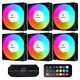 upHere 120mm RGB Case Fan 3-Pin High Airflow Long Life for Computer Cases Cooling,6-Pack,NK1206-6