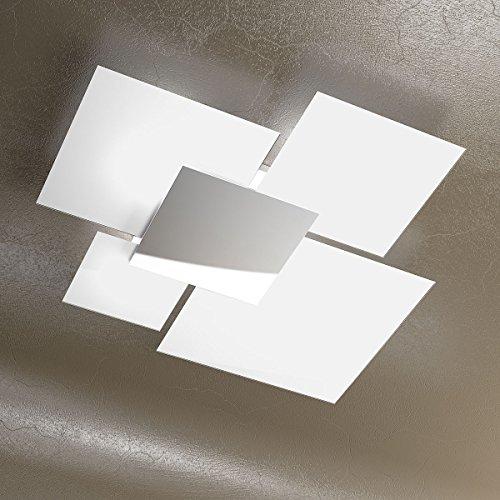 Plafoniera a soffitto grande 90cm Lampadario design moderno SKUGGA in Cristallo colore Bianco e Acciaio Cromato Design