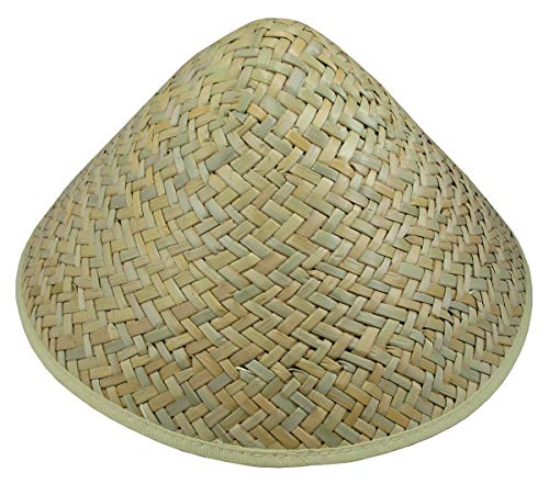 Light Weight Straw Sun Shade Farmer Conical Cone Hat, Beige, One Size
