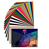 JANDJPACKAGING Heat Transfer Vinyl HTV Bundle 10'x12' - 25 Pack Assorted Colors HTV Vinyl, Iron On Vinyl for Cricut & Silhouette Cameo, Bonus Teflon for Heat Press Machine