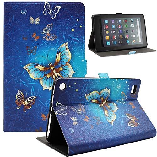 Bbjjkkz Amazon Fire 7 Tablet Case, Ultra Slim Lightweight PU Leather Folio Smart Stand Case Cover for Amazon Fire 7 Inch Tablet (9th 7th 5th Generation,2019 2017 2015 Released), 01 Gold Butterfly
