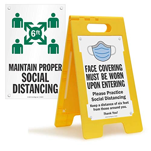 """SmartSign """"Face Covering Must Be Worn Upon Entering / Maintain Proper Social Distancing"""" Folding Floor Sign 