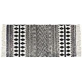 USTIDE Moroccan Cotton Tassel Rug, Black&Cream Laundry Room Boho Bath Rug Machine Washable Woven Braided Doormat Hearth Rug for Bathroom Kitchen Bedroom,2'×4.3'