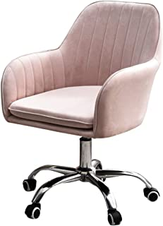 Silla de oficina ergonómica para computadora, silla de escritorio con reposabrazos, respaldo medio, terciopelo, ajuste de altura, silla giratoria para dama, niño, trabajo remoto desde casa, rosa