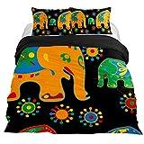 Eslifey - Juego de Funda de edredón de 3 Piezas con diseño asiático y Elefantes para Dormitorio (150 x 200 cm), Queen 88 x 90\19 x 29 in