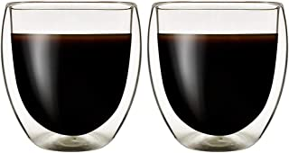 Double Wall Thermo Insulated Glass Espresso Cups Set of 2, Glasses Cups for Coffee,Latte,Lungo,or Americano,Milano,250ml ...
