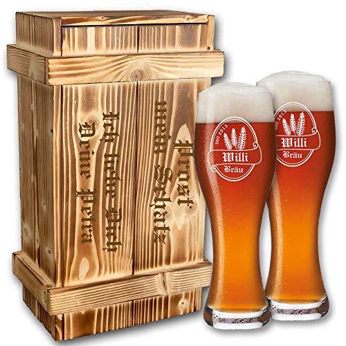 2X Weizenbierglas (Leonardo) verpackt in rustikaler Holzkiste - inklusive Gravur | Personalisiertes Bier-Geschenk-Set (B1)
