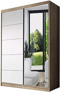 E-MEUBLES Armoire de Chambre avec 2 Portes coulissantes | Penderie (Tringle) avec étagères (LxHxP): 120x200x61 Noah 05 (So...