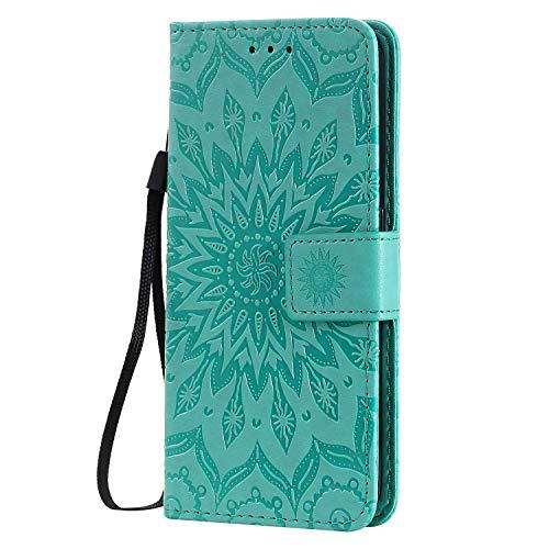 KKEIKO Hülle für Galaxy J4 Core, PU Leder Brieftasche Schutzhülle Klapphülle, Sun Blumen Design Stoßfest HandyHülle für Samsung Galaxy J4 Core - Grün