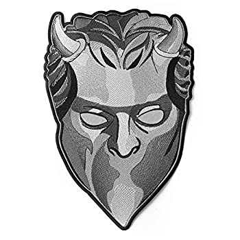 Embrosoft Ghost Band Nameless Ghoul Gray Mask Embroidered Patch – Pack of 1 Heavy Metal Embroidery Emblem – Iron On and Sew On Applique Patch for Bikers – 7.8 x 11.8 inches
