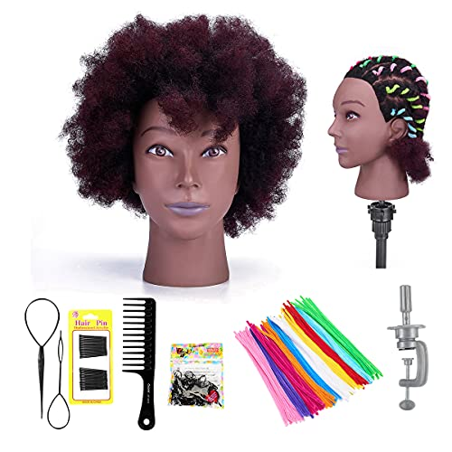 """NEVERLAND 10"""" Tête d'exercice pour Coiffure 100% de Vrais Cheveux Tête de Mannequin Afro avec Support Ensemble de Tresse Tête à Coiffeur Pratique Noir et Rouge"""