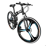 [Fast Delivery from USA] 26In Mountain Bike, Folding Mountain Bike Shimanos 21 Speed Bicycle Full Suspension MTB Bikes, for Men Women, Adult Student Bicycle (F)