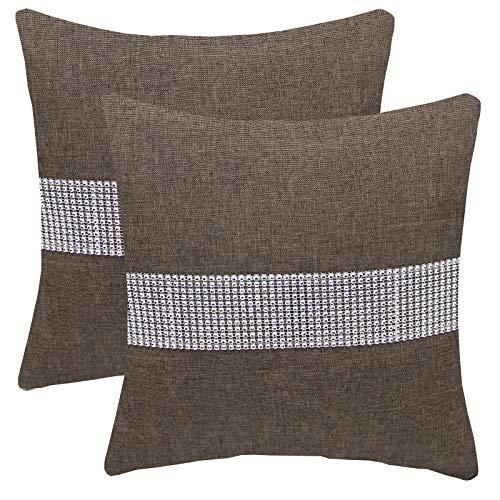 FYJS Confezione da 2 federe in lino artificiale con paillettes tridimensionali Decorazioni per la casa Fodera per cuscino quadrato per divano camera da letto 45x45cm,Tortora