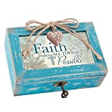 Faith Makes All Things Possible Teal Distressed Jewelry Music Box Plays Amazing Grace