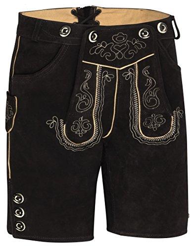 Herren Trachten Kurz Lederhose mit Träger antikbraun, schwarz (48)
