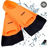Swimming Training Fins Swim Flippers from SCOOB. Travel Size Short Blade for Snorkeling Diving Pool Activities Men Women Kids New Two Tone Trendy Design + Travel Mesh Bag (Orange-Black, L, US 7)
