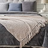 Battilo Boon Knitted Tweed Throw Couch Cover Blanket (Beige, 56' x 96')
