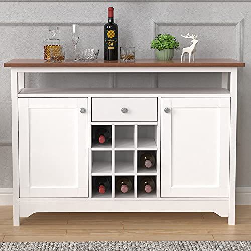 Retro White Sideboard with 9 Wine Rack for Living Room/Kitchen, Storage Cabinet with Drawer and Shelf, Console Table for Hallway, Farmhouse Storage Cupboard Buffet for Dining Room Multifunctional