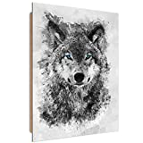 carowall CAROWALL.COM Cuadro Imagen XXL Lobo Impresión de Arte Abstracto Gris 70x100 cm