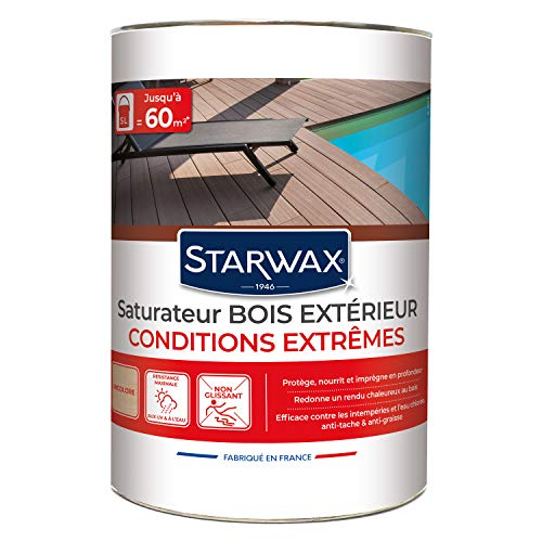 STARWAX Saturateur haute protection pour terrasses en bois teinte incolore 5L - Idéal pour nourrir et protéger le bois