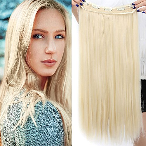 Clip in Extensions wie Echthaar Haarteile für 3/4 Haarverlängerung hitzebeständig Synthetische Haarextensions Glatt 1 Teil 5 Clips 30