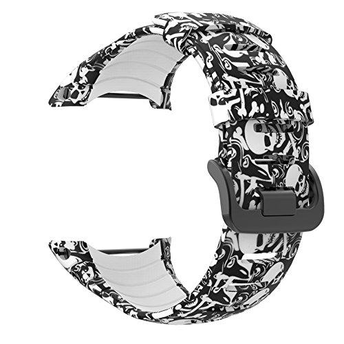 patrohoo Suunto Core Strap Gummi Ersatz Uhrenarmband für Suunto Core SS014993000, Bones