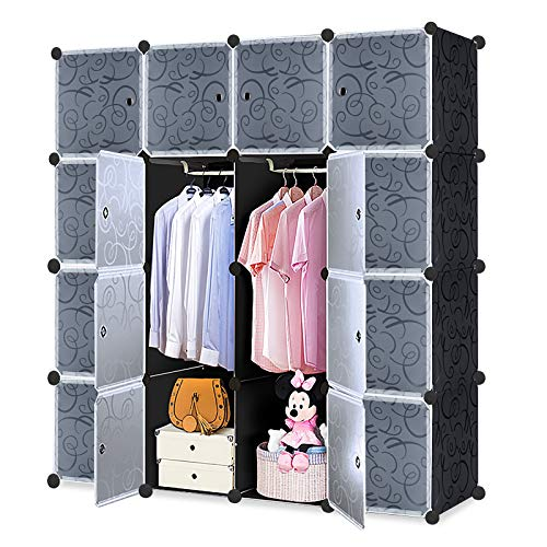LARS360 DIY Kleiderschrank Regalsystem Garderobe aus Kunststoff Garderobenschrank Steckregalsystem Bücherregal Tragbarer Faltschrank mit Türen (16 Würfel Schrank mit 2 Kleiderstange)