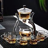 RORA Glass Teapot Set Glass Automatic Lazy Tea Set Magnetic Rotating Kungfu Heat-Resistant Teapot Suit (6 Tea Cups)