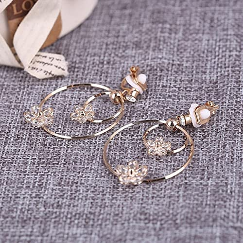 Gold Color Long Hollow Big Round Zircon Clip on Earrings Non Pierced for Women Accessories Jewelry