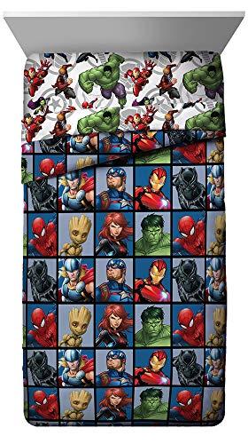 Jay Franco Marvel Avengers Team Full Comforter - Super Soft Kids Reversible Bedding - Fade Resistant Polyester Microfiber Fill (Official Marvel Product)