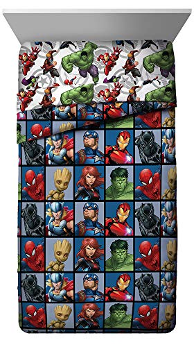Jay Franco Marvel Avengers Team Full Comforter - Super Soft Kids Bedding - Fade Resistant Polyester Microfiber Fill (Official Marvel Product)