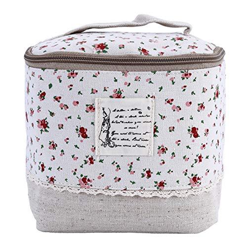 ZALING Femmes Coton Lin Floral Dot Cosmétique Sac Maquillage Cas Voyage Organisateur Rouge