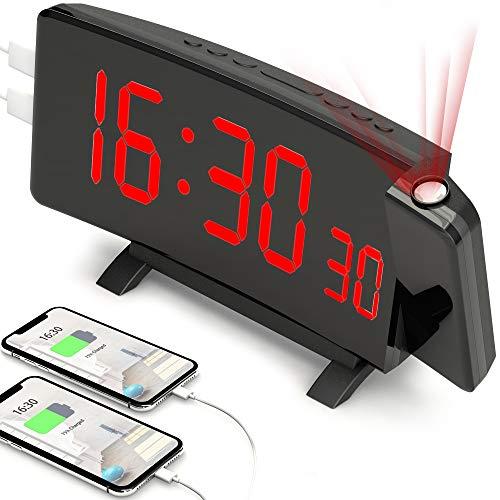 PEYOU Projektionswecker,[2021 Upgrade]Digital Wecker mit Projektion,Große 7\'\' LED-Anzeige,Snooze,Dual-Alarm,2 USB-Anschluss,5 einstellbare Helligkeiten,12/24 Stunden Reisewecker mit Projektion/Adapter