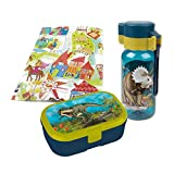 Lutz Mauder - Fiambrera T-Rex Mepal con botella de 400 ml, set de regalo para niños en la guardería, incluye paquete de regalo (1)