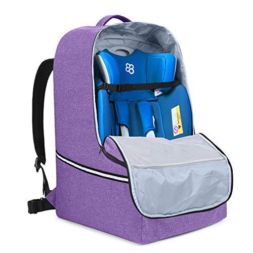 Teamoy Car Seat Bag, Universele Auto Seat Reistas voor Vliegtuig, Auto Zitzak Gevoerd met Twee-weg Verstelbare Taillebanden en Taille Buffered Ademend Gevoerd Paars