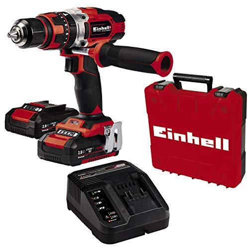 Einhell TE-CD 18/48 Li-i (2x2.0 Ah) Power X-Change, Taladro percutor sin cable (iones de litio, incluye función de taladro de percusión, incluye 2 baterías de 2.0 Ah PXC, cargador y maletín)