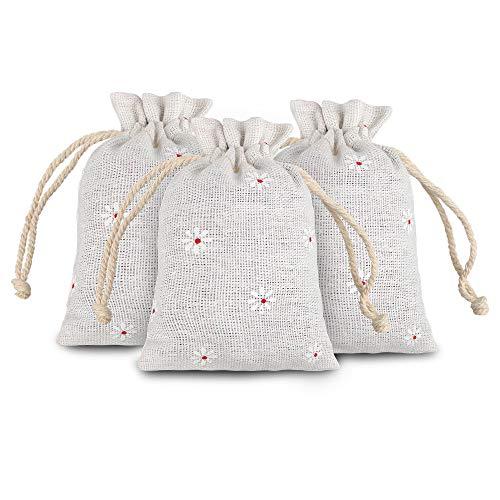 20 piezas Bolsas de Arpillera con cordón 12 x 9 cm Bolsas de Yute para Regalos Boda Favor Bolsa de Joyería