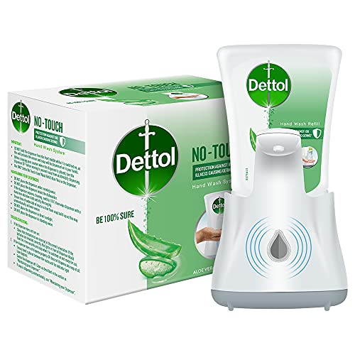 Dettol Handwash No-Touch Automatic Soap Dispenser Device with Aloe Vera Refill – 250ml   Aloe Vera & Moisturizer   10X Better Protection from Germs