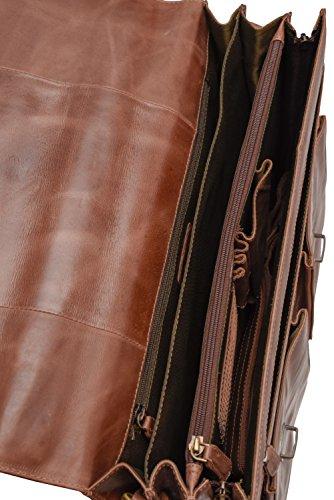 51tYwjvTMQL - LEABAGS Miami maletín de auténtico Cuero búfalo en el Estilo Vintage - CrazyVinkat