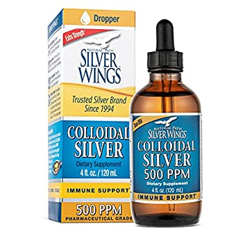 Natural Path Silver Wings Dietary Mineral Supplement Colloidal Silver 500 PPM 4 fl oz / 120 ml