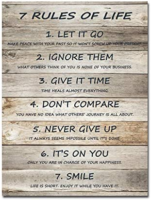 7 Rules of Life Motivational Wall Art Inspirational Quotes Canvas Prints Ready to Hang for Home product image