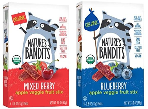Nature's Bandits Organic Fruit & Veggie Stix, Variety Pack (Blueberry & Mixed Berry), 6 Boxes of 0.6 ounce 5 pack bags) Gluten Free, Vegan, Kosher