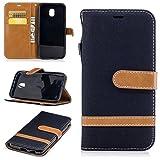 König Design Handy-Hülle Kompatibel mit Samsung Galaxy J3 (2017) Schutz-Tasche Hülle Cover Kartenfach Etui Wallet Schwarz