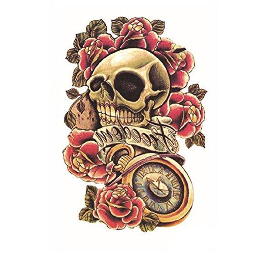 EROSPA® Tattoo-Bogen temporär - Schädel / Totenkopf / Uhr / Rosen - 12 x 19 cm