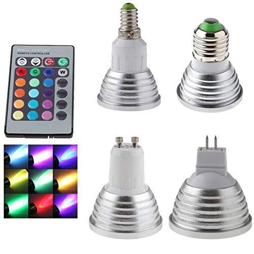 Trihedral-X E27 / E14 / GU10 / MR16 führte bunten Infrarot-Fern Synchron-Permanent RGB LED-Lampe Tasse Scheinwerfer Urlaub (Color : RGB, Size : E14 85-265V)