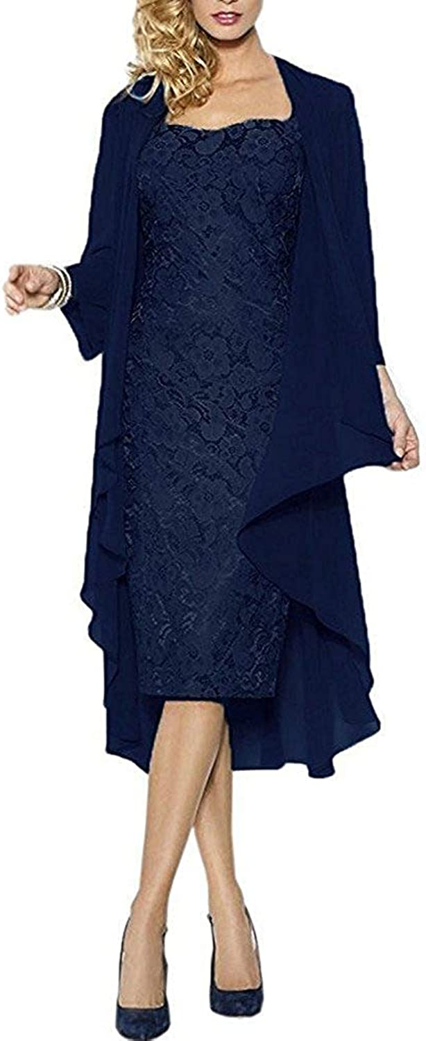ANFF Women's 2 Pieces Lace Mother of Bride Dresses with Jacket Long Sleeves