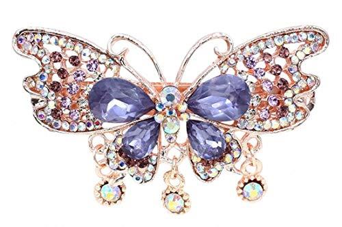 Plus Nao(プラスナオ) ヘアクリップ レディース 髪飾り バタフライ 蝶々 ヘアアクセサリー 髪留め ビジュー きれい かわいい 上品 お呼ばれ - パープル