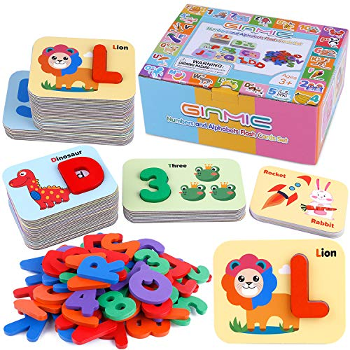 GINMIC Alphabets and Number Flash Card Wooden ABC Letters Puzzle Animal Flashcards Set, Matching Letter Game for Kids, Preschool Educational Montessori Toys for Toddlers Boys Girls 3+ Years Old
